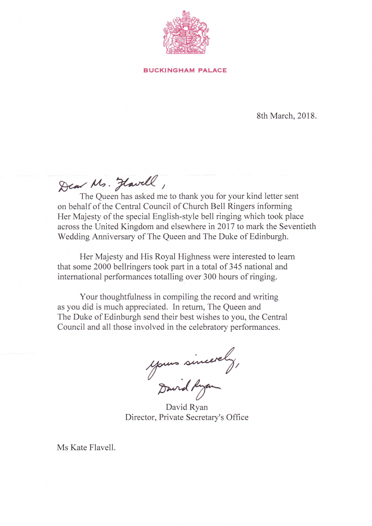 royal thanks received for platinum anniversary ringing