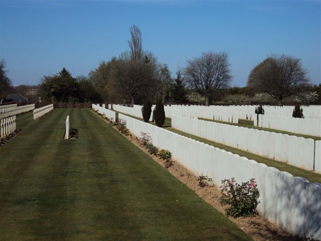 View showing French graves on left