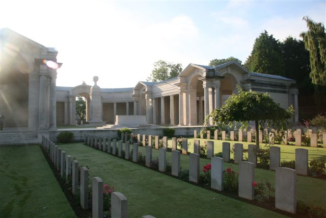 View 8 showing Flying Services Memorial and Stone of Remembrance within entrance courtyard of Arras Memorial