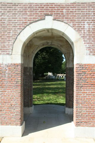 View through entrance archway