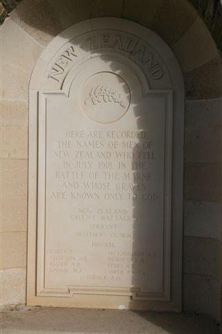 New Zealand memorial panel