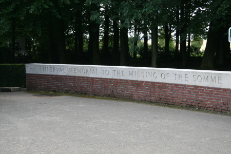 Closeup of wall dedication to the Missing of the Somme