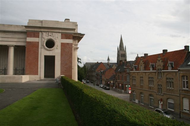 Northwest corner with view of town of Ypres (Ieper)